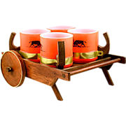 Ole! Vintage 4 Piece Red Siesta Ware Bullfighter Mug Set with Cart