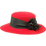 SOLD Vintage Classic and Elegant I. Magnin Red Wool Hat Original Tag