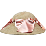 Elegant and Feminine Angora Wool Hat with Pink Ribbons