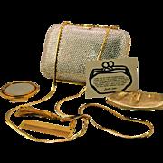 Classic Judith Leiber Silver Rhinestone Minaudiere Clutch with Accessories and Original Dust B