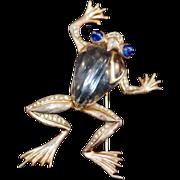ca 1943 Crown Trifari Sterling Vermeil Jelly Belly Frog Brooch