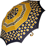 Retro Cool 1960s Yellow and Blue Polka-dotted Umbrella