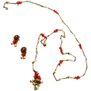 Miriam Haskell Rare Unsigned Sautoir Spezzati Long Long Necklace and Earrings Set
