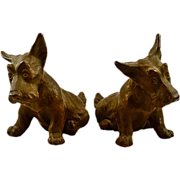Vintage Bronze-Clad Plaster Scottie Dog Bookend Set