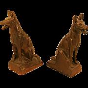 Bronze-Clad Spelter German Shepherd Dog Bookends