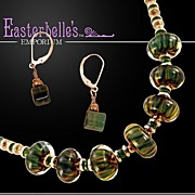 "OOAK Davison AAA Grade ""Chrome"" Tourmaline and Art Glass Necklace/Earring Set"