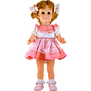 """ca 1962 Rare Canadian Chatty Cathy Doll """"Pinwheel Eyes"""" in Darling Pink Outfit with"""
