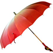 ca 1930's Elegant Parasol Pink/Red Bakelite Handle