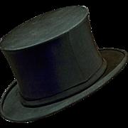 Elegant Antique Stetson 1800s Collapsible Top Hat
