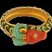 Famous Hattie Carnegie Thermoplastic Ram's Head Bracelet