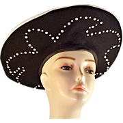 Beautiful, Voluminous Wool Black and White Hat with Rhinestone Detailing