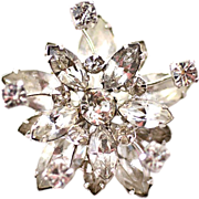 ca 1940s Karu Brooch with Sparkling Clear Rhinestones