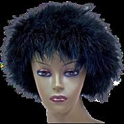 Dramatic Glamour Vintage Marabou Black Hat