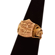 """14K Gold Signet Ring, Very Handsome with """"TS"""" Initials"""