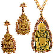 "Gorgeous Buddha Necklace and Earrings Demi-Parure by ""Art"""