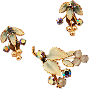 Gorgeous Austrian Crystal Vintage Brooch and Earrings Set