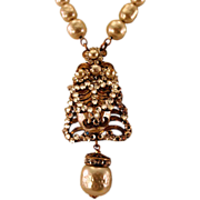 Stunning Vintage Miriam Haskell Necklace with Faux Pearls and Rhinestones