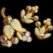 Elegant Austrian Crystal and Enameled Vintage Brooch and Earrings Set