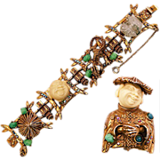 Signed HAR Costume Brooch and Bracelet Set Happy Chinese Man with Stones