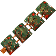Gorgeous Vintage Mid-Century Modernist Copper and Enamel Panel Bracelet