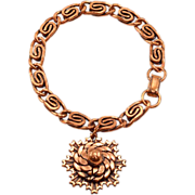 Fun, Unusual Copper Bracelet With Bold Hanging Pendant