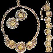 Rare Schiaparelli Over-the-Top Rhinestones and Opalescent Cabochons Parure