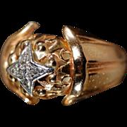 A True Beauty ca 1940s 18K Gold Diamond Starburst Domed Ring