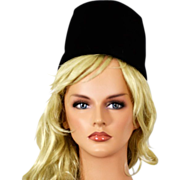 Glamorous  Bonwit Teller 1960s Black Velvet Hat