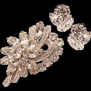 Glitzy Vintage Eisenberg Ice Rhinestone Brooch and Earrings Set