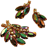 Glamazon Vitrail Rhinestones Earring and Brooch Set