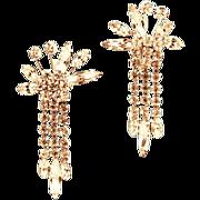Vendome Dripping Rhinestone Earrings,  ca 1940s