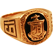 """1929 Art Deco 10k Yellow Gold Class Ring Aladdin Lamp and Shield """"D"""""""