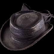 Smashing 1960s Bellini New York Navy Blue Straw Hat