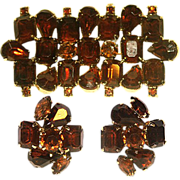 Very Beautiful Russet Amber Tone Rhinestone Brooch and Earrings Set