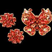Darling Vintage Regency signed Butterfly Brooch and Clip Earrings Set