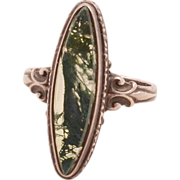 Gorgeous Sterling Silver .925 Moss Agate Edwardian Ring
