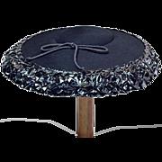Classic ca 1940s Isaac Long Black Wide-Brim Hat