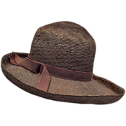 Vintage Chocolate Straw Sun Hat
