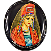 "Highly-Collectible Hand-Painted Russian Fedoskino Lacquer Box With Classic Fairy Tale ""Va"