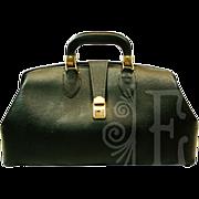 Vintage Heavy Black Leather Doctor's Bag