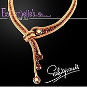 Must See Schiaparelli Sparkling Rhinestone Gold-Tone Mesh Necklace