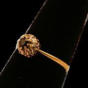 Brilliant Diamond and Black Sapphire 9 Karat Gold Ring