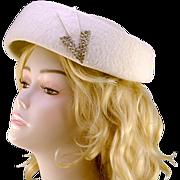 Vintage O'Neil's White Wool & Rhinestone Hat