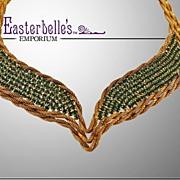 Hattie Carnegie Stunning Green Rhinestone and Gold-Tone Necklace