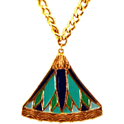 Gorgeous Park Lane Egyptian Revival Green-and-Blue Necklace