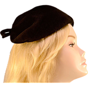 Vintage '40s Black Wool Bow Hat
