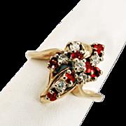 14K Gold Diamonds & Rubies Cluster Ring