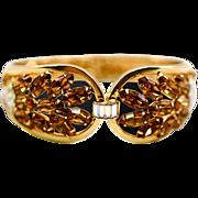 Exquisite Glam Root Beer Amber Rhinestones Gold-tone Clamper Bracelet