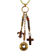 OOAK Davison African Trade Bead, Inlaid Tiger Eye Sterling, Fleur de Lis Charm Necklace