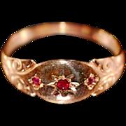 ca 1927 Lovely 9K Rose Gold Ruby Spinel Gypsy Ring Fully Hallmarked
